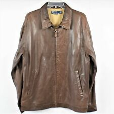 Polo By Ralph Lauren Men Large Brown Leather Full Zip Long Sleeve Jacket Preown