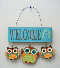 Wooden Triple Owls Welcome Sign Spring Color Door Decor Wall Decor