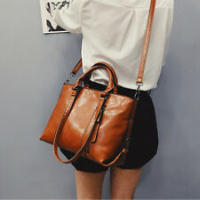 Fashion Women PU Leather Bag Handbag Shoulder Bag for Girls Ladies Tote Brown