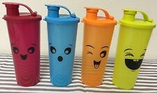 Tupperware Straight Sided Tumblers Set Of Four 16oz Tumblers Blue, Orange, Red