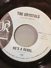 """THE CRYSTALS 7"""" 45 RPM - """"He's a Rebel"""" & """"I Love You Eddie"""" G+ to VG- condition"""