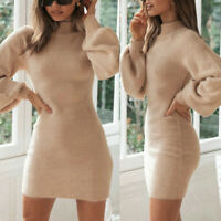 Womens Turtle Neck Long Sleeve Sweater Dress Ladies Knitted Jumper Pullover Tops