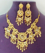 Indian Bridal Bollywood Designer Sari Jewelry Gold Plated Necklace Earrings #292