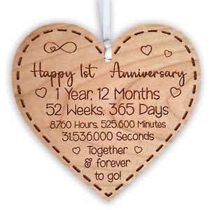 1st Wedding Anniversary Gift for Husband Wife or Partner Heart Hanging Keepsake