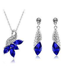 Leaf Crystal Rhinestone Necklace+Drop Earrings Jewelry Set Charm Bridal Wedding