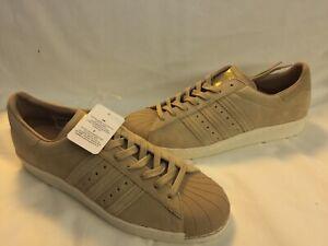 NWT Adidas Originals Superstar 80s Shoes BB2227 Sz 13 Khaki Suede