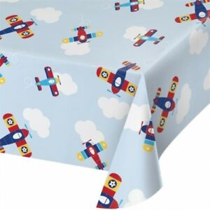 """Lil Flyer Airplane Plastic Banquet Tablecloth 54"""" x 102"""" Planes Party Tableware"""