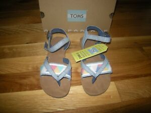 Brand New Girls Blue Toms Lexie Sandals, Size 13