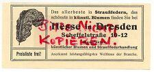 DRESDEN, Werbung 1911, Hesse Strauß-Federn künstliche Blumen Kunstblumen