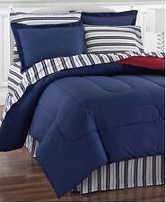 Red & Blue Nautical Stripe Reversible King Comforter Set (8 Piece Bed In Bag)
