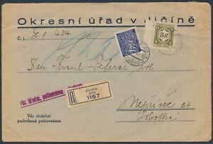 Böhmen + Mähren Dienstmarke Einschreiben Nachgebühr Behördenbrief 1941 (4469)