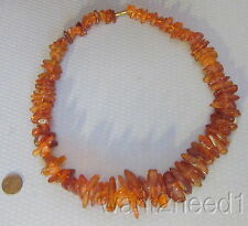 """vtg genuine BALTIC AMBER NUGGET NECKLACE 97g big chunky 23"""" with huge 40mm beads"""