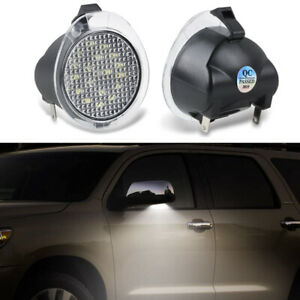 White LED Side Mirror Puddle Lights For Toyota Tundra Sequoia Under Mirror Lamp