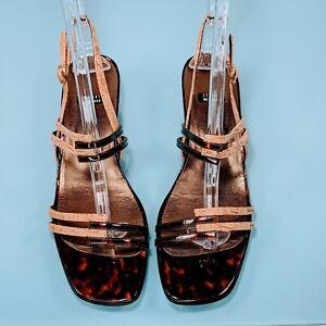 STUART WEITZMAN Womens 10 Tortoise Shell Patent Leather Cork Sandals Heels Shoes