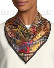 BURBERRY antique yellow Graffiti MARKER PEN triangle silk Bandana scarf NWT Auth