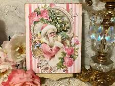 Victorian Pink Santa, Shabby Chic /French Country, Christmas Plaque