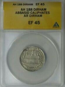 AH188 (c.804) ABBASID Caliphates. Silver Dirham - ANACS XF45