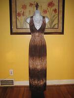 NWOT Floral Lace Trim Tan/Brown Maxi Dress Size L/XL