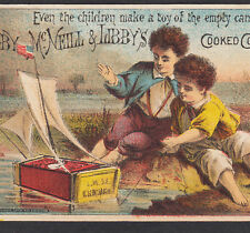 Antique Tin Can Toy Boat Flag Libby McNeill Canned Meat Advertising Trade Card