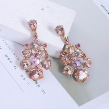 earrings Golden Candlestick Crystal Pink Class Marriage AA24