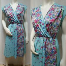 Vintage 70s Aqua Floral Knit Sleeveless DRESS - Size M