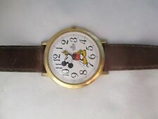 Lorus Mickey Mouse Watch Gold Toned Brown Band Casual Collectible WORKING!