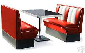 120cm Retro 50s Diner Furniture Kitchen Table Restaurant Bench Booth Seating Red