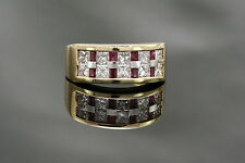 0.5CTS Ruby & 1.33CTS Diamond 18K Yellow Gold NOVA Men's Ring, size 6.75