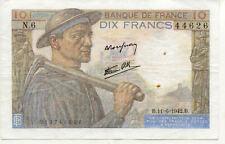 BILLET BANQUE 10 Frs MINEUR 11-06-1942 B N.6 état voir scan