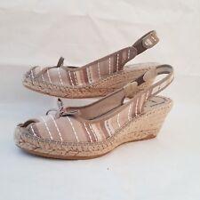 Womens Wedge Espadrille Sandals UK 6 EUR 39 Beige Canvas Stripe Made In Spain