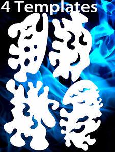 airbrush stencil Flame Template 4 XL Fire Stencils set #1 Spray Vision