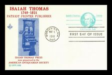 DR JIM STAMPS US ISAIAH THOMAS PATRIOT MASONIC FDC POSTAL CARD LIMITED EDITION