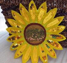 Applikation Sonnenblume Bügelbild Motiv mit Pailletten