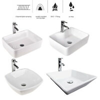 Bathroom Ceramic Vessel Sink Basin Bowl Porcelain Faucet Pop Up Drain Set White