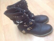 Beautiful Ladies Brown Short Boots With Buckles, Size 7 New Shop Clear