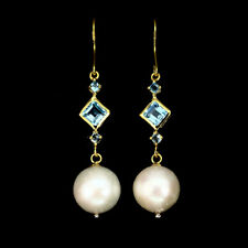 Swiss Blue Topaz Square 5mm Baroque Pearl 925 Sterling Silver Earrings