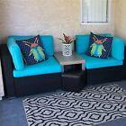 2pc Patio Rattan Wicker Corner Sofa Garden Loveseat Outdoor Furniture Turquoise
