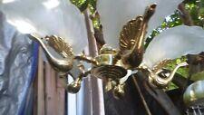 New listing 5 Light Deco Murano Peacock Bird Figural Chandelier Italy Brass Slip Shade