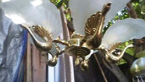 5 Light DECO MURANO PEACOCK BIRD FIGURAL Chandelier ITALY Brass Slip Shade