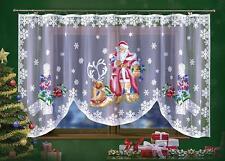 "Beautiful Christmas Net Curtain Hand Painted Santa Claus  118""x59"""