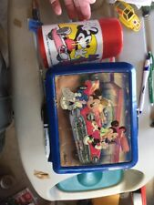 Aladdin Minnie & Mickey Mouse Pluto's Diner Blue Plastic Lunch Box w/ Thermos