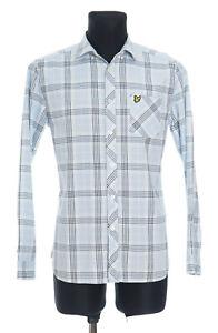 Lyle & Scott Men's Pale Blue Checked long sleeved Casual Shirt Size Medium