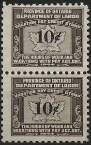 Canada VanDam #OV6 10c brown & black Ont. Vacation Pay stamp pair, of 1949