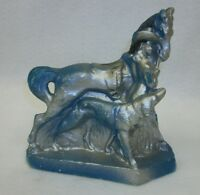 Rare Vintage Carnival Chalkware Souvenir Prize Blue Horse Cowgirl Dog