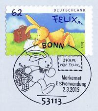 BRD 2015: Felix der Hase! Selbstklebende Nr. 3142! Bonner Sonderstempel! 1A 1603