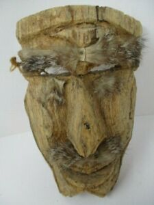"Hand Carved Wooden Mask Tribal Ancestral Wall Art with Hair 10"" x 6"""