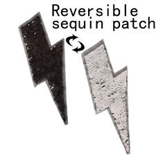 lightning reversible change color sequins sew on patch for clothes DIY applique