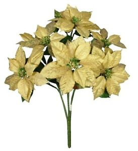 """Gold Poinsettia 5 Blooms 20"""" Bouquet Christmas Flower Home Office Decor New"""