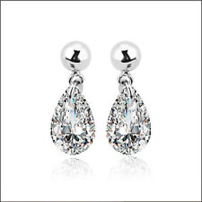 18k White Gold Plated Drop Austrian Crystal Earring