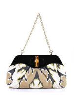 Elaine Turner Zanzibar Canvas Patent Leather Carson Clutch Handbag White Gold